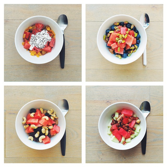 Breakfast fruit salads. Watermelon week. What's your favourite?  1) With pruned and yogurt. 2) blueberries and pistachios. 3) blackberries and cashews. 4) melon and hazelnuts. #instafood #instasalad #feelgood #healthy #healthyfood #saladpride #saladlove #