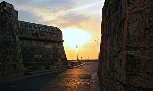sunset over the wall in Cartagena