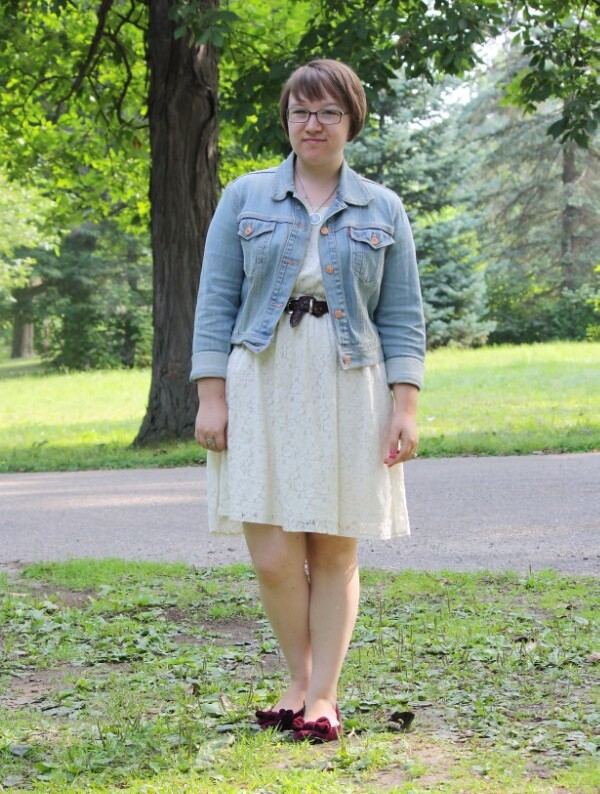 little white dress, denim jacket, bow flats