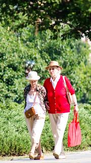 two colorful elderly women