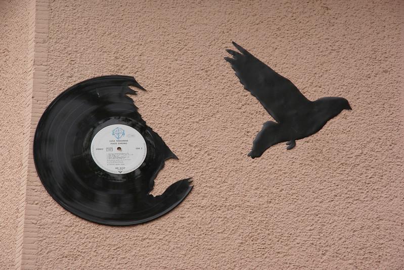 Vinyl Bird Flies from Record Paris Street Art