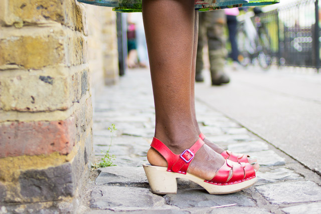 red Swedish Hasbeens sandals
