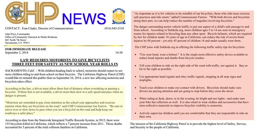 CHP press release on 3 foot law