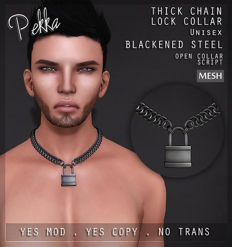 pekka thick chain collar lock blackenened steel