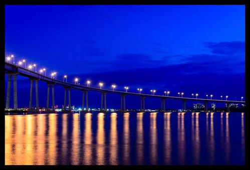 california ca sea night us sandiego bluehour coronadobridge