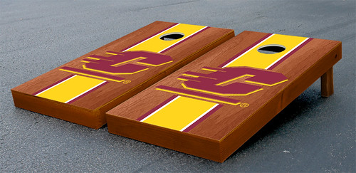 Central Michigan Chippewas Cornhole Game Set Stained Striped Wooden