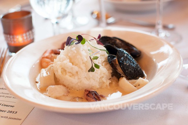 Seafood Thai green curry, jasmine rice