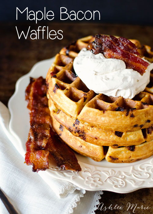 I love waffles, bacon, maple and fresh whipped cream, putting them all together makes an amazing breakfast