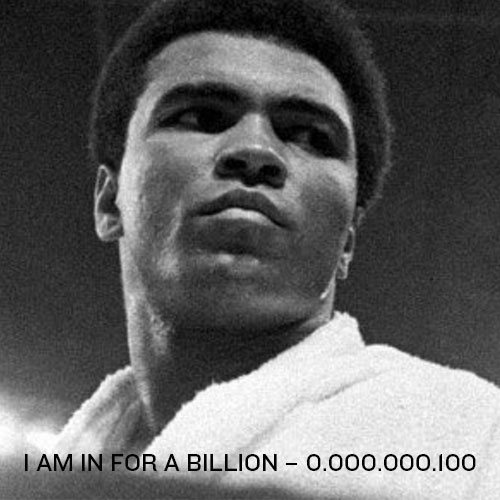 0.000.000.100: Hi, I am Muhammed Ali from USA. I am a Non-Violence and Peace Ambassador. Join the movement and GIVE PEACE A FACE by signing up your face just like me…and write a message to the world right here. 