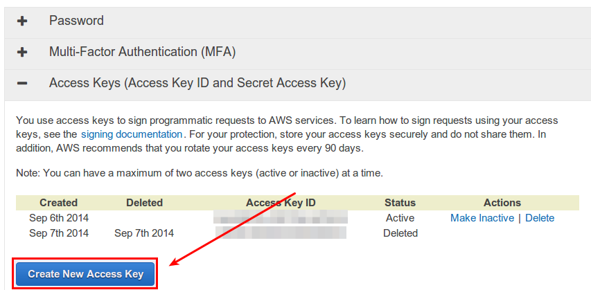 How to create a new Amazon AWS access key - Ask Xmodulo