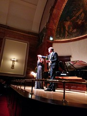 Anna Caterina Antonacci and Donald Sulzen accepting the applause after their Wigmore Hall recital on 24 September 2014