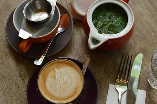 Fresh mint tea, coconut milk latte