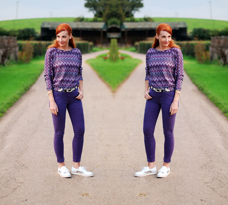 Purple skinnies and top with silver and white brogues - over 40 fashion