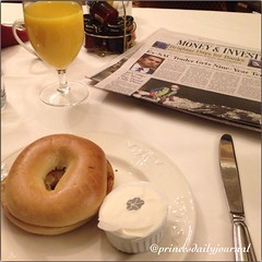 "Today is my day off, but the law never takes a day off. The morning newspaper reminded me of that. After this it's straight to studying. #whatsprinceeating: ""Continental Breakfast--toasted bagel with fresh orange juice and hot coffee"" www.princesdailyjour"
