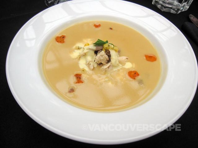 Chicken veloute, early harvest vegetables