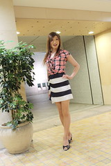Check ruffle blouse and Marine miniskirt_9
