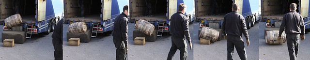 Casks being unloaded on arrival at Benriach Distillery