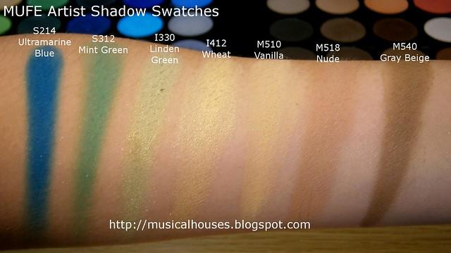 MUFE Artist Shadow Eyeshadow Swatches 1 Row 6