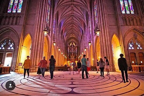A 40-foot long labyrinth is at Duke Chapel today from 8am to 5pm. The winding path is an ancient tradition in many faiths. #Findsanctuary   : @megankmendenhall / Duke Photography