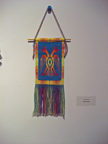 Handwoven wall hanging, Mexican Eagle in Plumage 2014 Juried Exhibition Burlington Handweavers and Spinners
