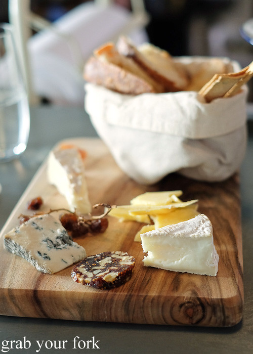 Four cheese cheeseboard with brie, camembert, smoked cheddar and blue di capra at The Stinking Bishops, Newtown