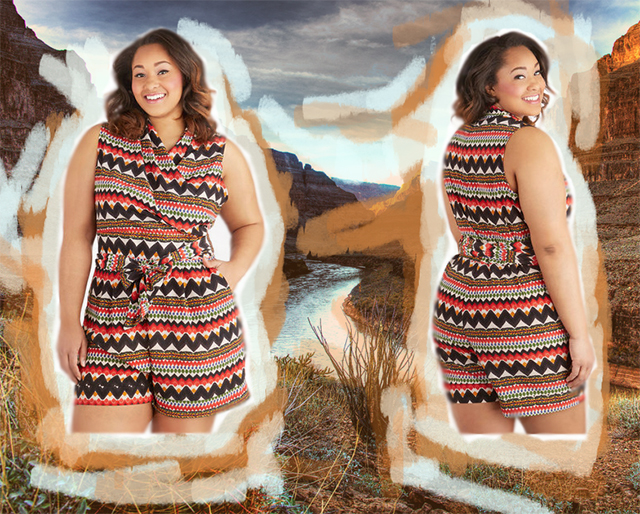 ModCloth plus-size patterned romper, made in the USA, with Grand Canyon background