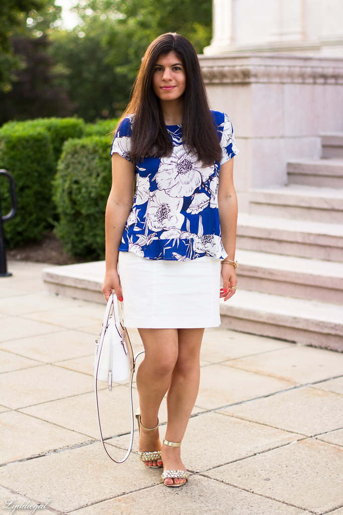 blue floral blouse, white pencil skirt.jpg