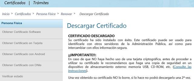 Renovar certificado - Certificado descargado