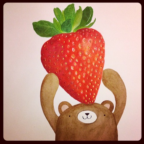 SO CLOSE to being finished with this! #watercolor #pudgybear #strawberry