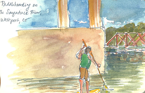 Paddleboarder on Saugatuck River, Westport, CT