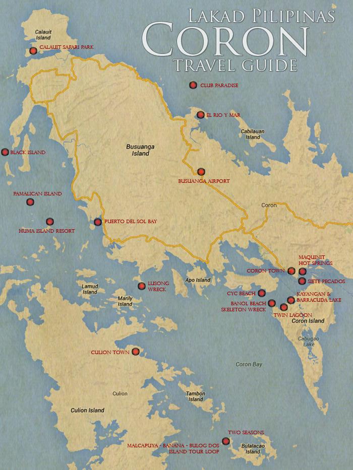 Coron Tourist Spots Map