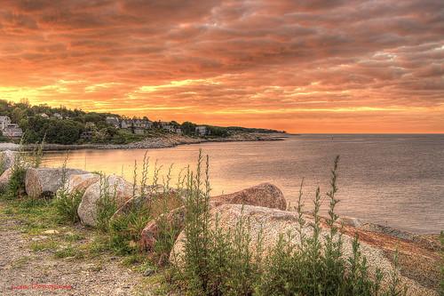 sunset pier cloudy massachusetts newengland granite rockport granitepier
