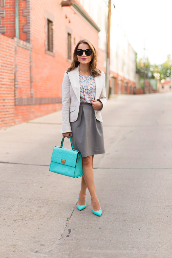 Work Outfit--Pops of Turquoise + Manolo Blahnik BB Review