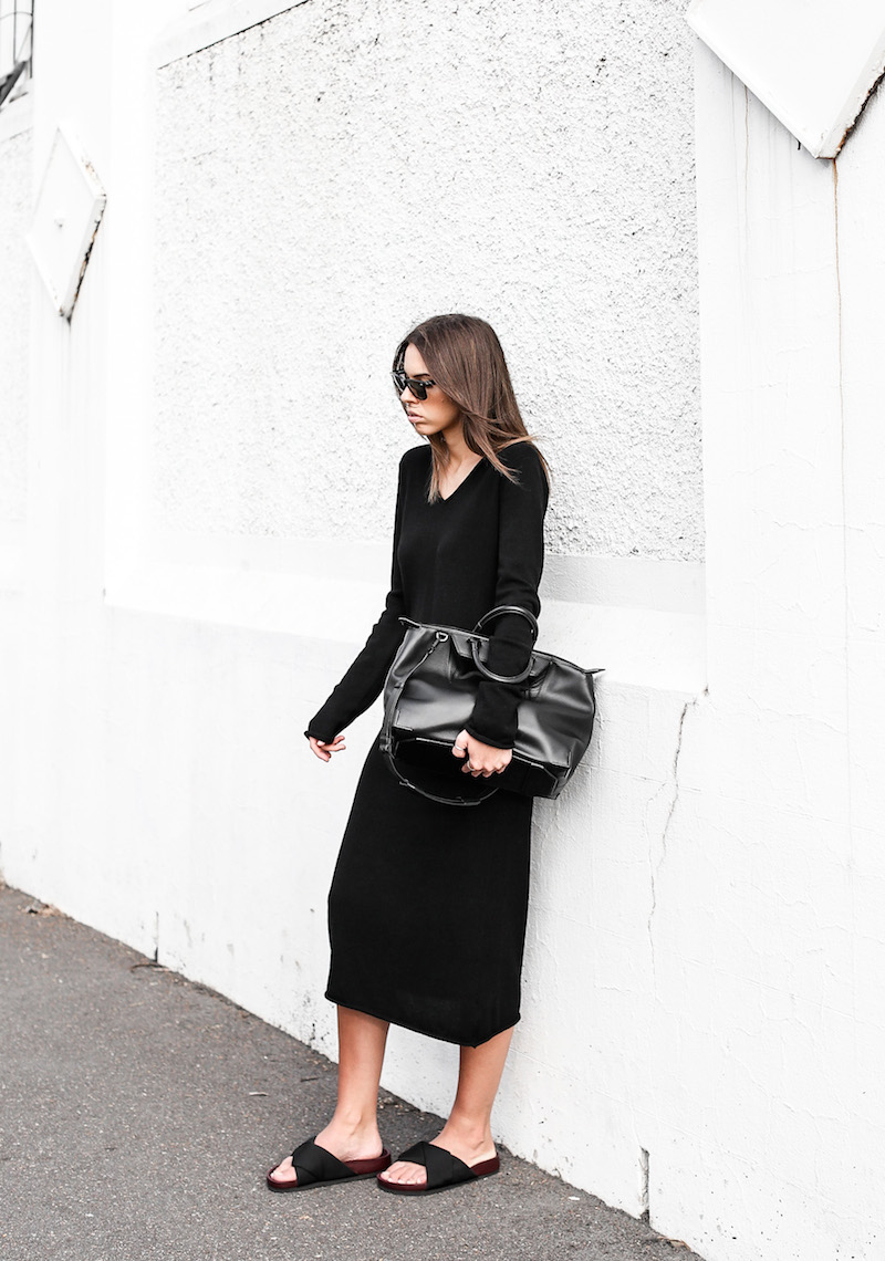 modern legacy fashion blog street style Celine cross slide sandals ugly trend Bassike knit midi dress fall Alexander Wang Prisma tote bag all black (6 of 9)