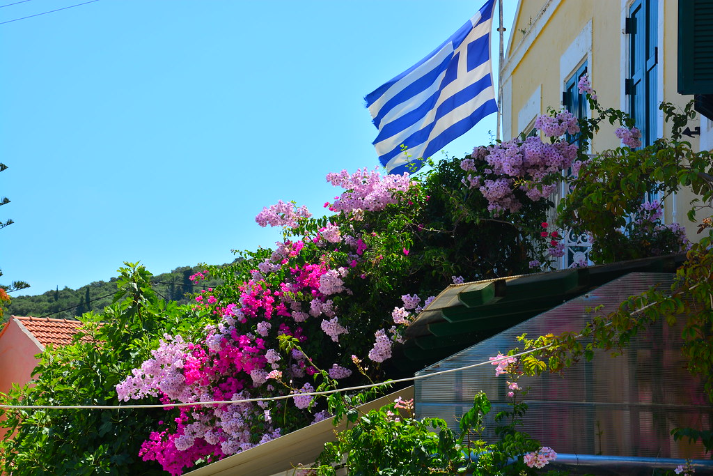 Greek Flag surrounded by Flowers...