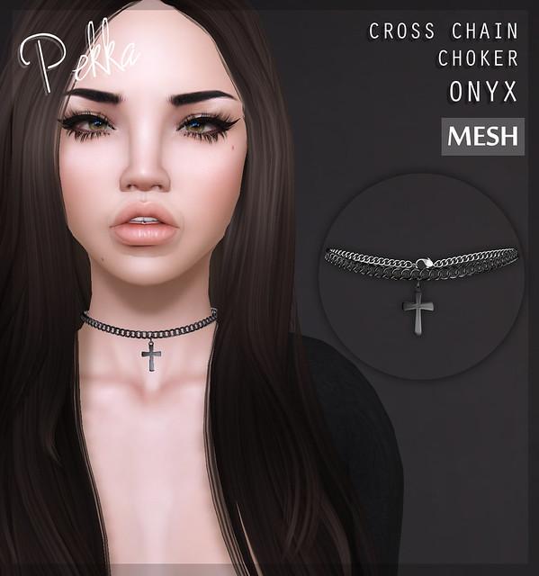 pekka cross chain choker onyx