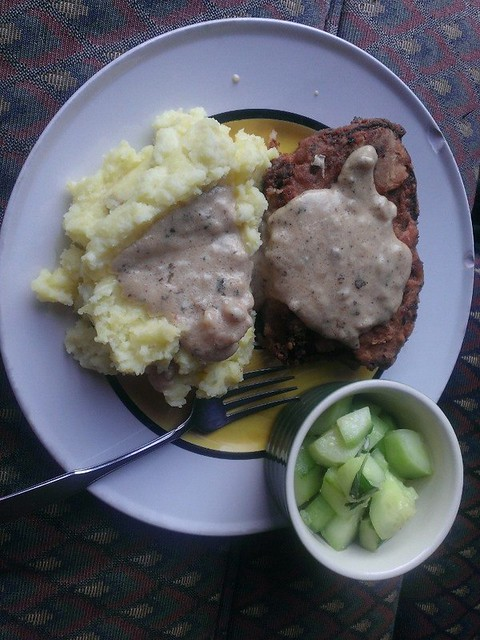 Chicken-fried meatloaf