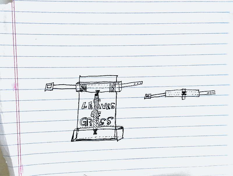 Design for a book holder to fit on a utility belt. Scanned sketch.