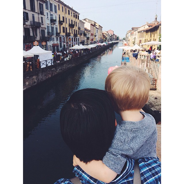 My boys on the canal #navigli #milano #italy