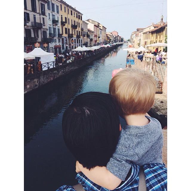 My boys on the canal #navigli #milano #italy