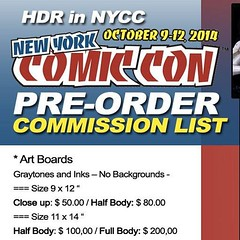 "My preorder commission list to New York Comic Con is OPEN. Still have a few slots on my list! You can order  a #commission to picked up with me into the show or shiped before the show - please email me to hdr.daniel@gmail.com - email subject: ""NYCC 2014 c"