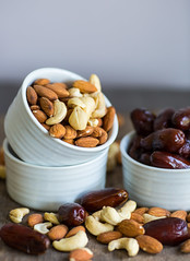 An assortment of healthy nuts in a bowl : almond,…