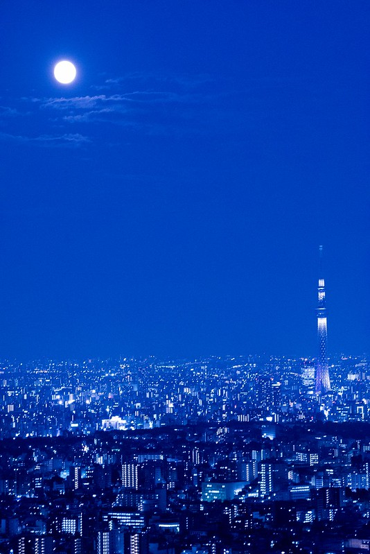 Supermoon and Tokyo Skytree