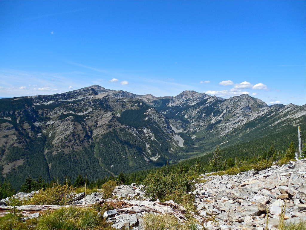 From the Cabinet Divide trail 360. The three big peaks in the photo are, from right to left, Carney Peak, Flat Top Mountain, Engle Peak