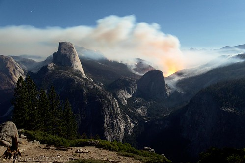 Meadow Fire and Half Dome, Yosemite National Park