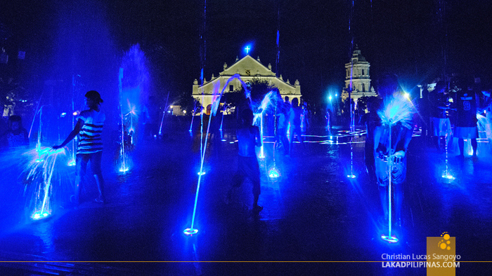 Kids Playing at the Dancing Fountain Show at Vigan