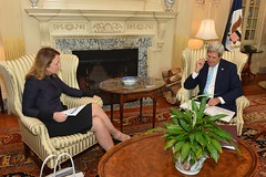 U.S. Secretary of State John Kerry meets with meets with CEO of the Millennium Challenge Corporation (MCC) Dana Hyde at the U.S. Department of State in Washington, D.C., on September 17, 2014. [State Department photo/ Public Domain]