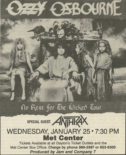 01/25/89 Ozzy Osbourne/ Anthrax @ Met Center, Bloomington, MN