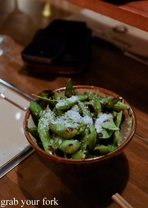 Smoky edamame soy beans at Chaco Bar, Darlinghurst