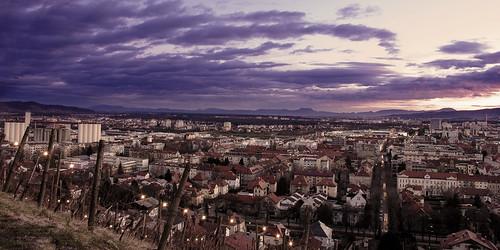 city sunset clouds town view hill violet slovenia vista blocks avenue kare maribor zahod intes pohorje piramida gorice donačkagora boč dravskadolina dravavalley